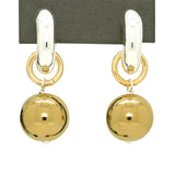 Simon Sebbag Sterling Silver Gold Huggie Hoops Drop Earrings Wear 2 Ways EC78V