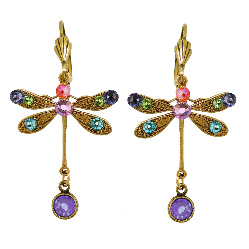 Anne Koplik Swarovski Crystal Dragonfly Drop Earrings ER4527MUL Multicolor Gold Purple - ILoveThatGift