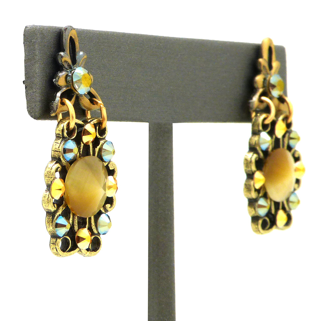 Anne Koplik Faceted Cats Eye Cabochon Earrings ER4742LBR - ILoveThatGift