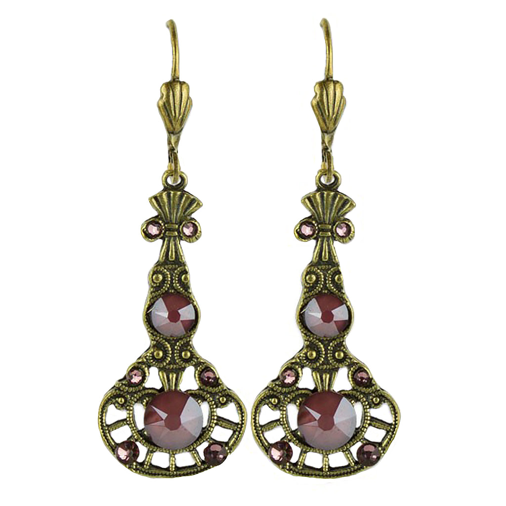 Anne Koplik Antique Pink Red Stoned Pendulum Earrings ER4747DRD - ILoveThatGift