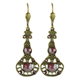 Anne Koplik Antique Pink Red Stoned Pendulum Earrings ER4747DRD
