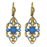 Anne Koplik Stoned Fila Frame Earrings ER4749RBL Gold Blue