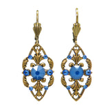 Anne Koplik Stoned Fila Frame Earrings ER4749RBL Gold Blue - ILoveThatGift