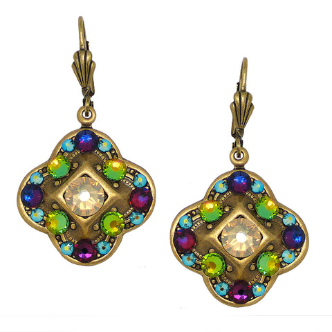 Anne Koplik Swarovski Crystal Multi Color Clover Dangle Earrings ER4550MUL Gold - ILoveThatGift