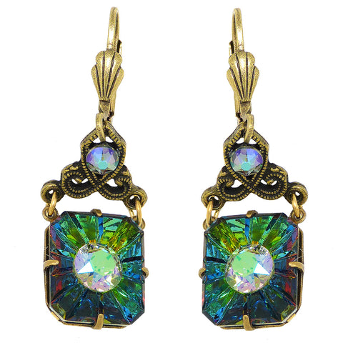 Anne Koplik Swarovski Crystal  Glass Stone Crown Dangle Earrings ER6875PDS Gold - ILoveThatGift