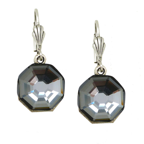Anne Koplik Dark Silver Knight Swarovski Crystal Earrings ES3053SNT - ILoveThatGift