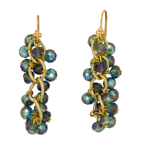 Nanni Faceted Crystal Bundle Earrings Blue Multicolor AB