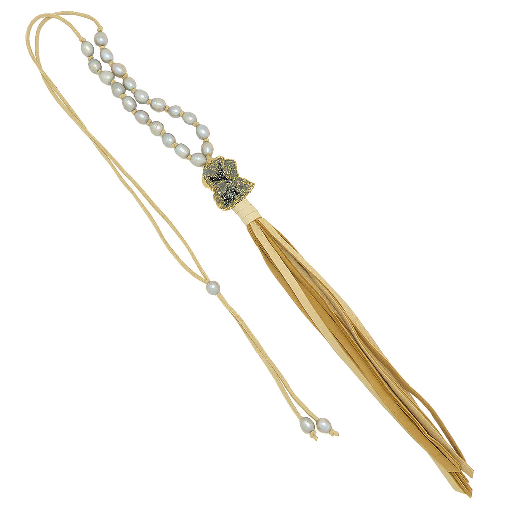 Gigi & Sugar Deerskin Druzy Quartz Necklace Lariat Ella - ILoveThatGift
