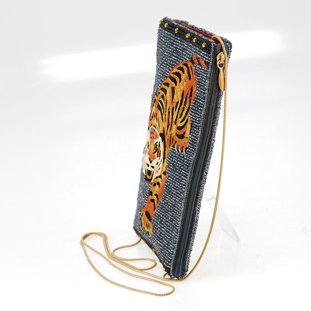 Mary Frances Fierce Beaded Embroidered Tiger Cross Body Phone Bag Denim Blue - ILoveThatGift