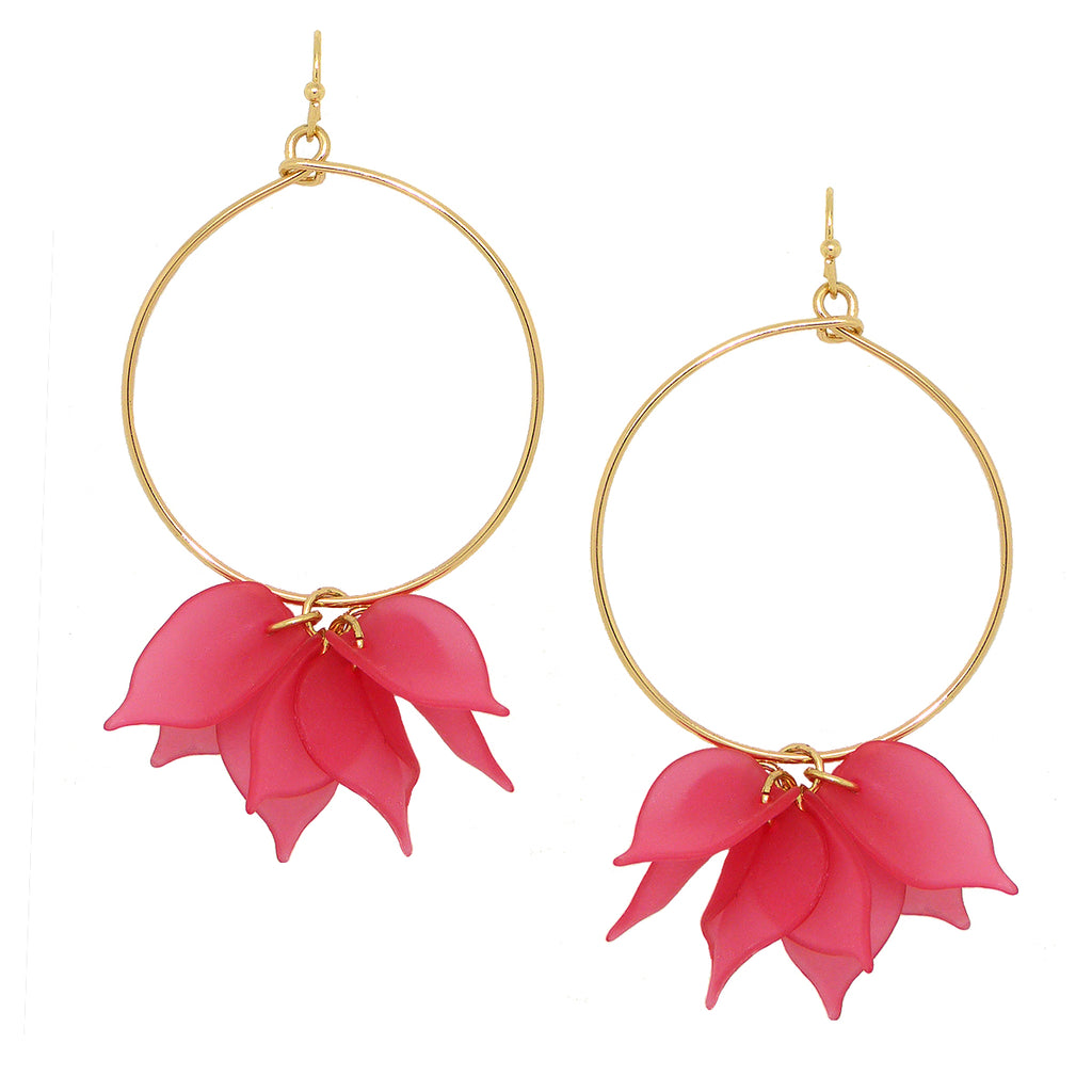 NahMu Pink Fuchsia Resin Acrylic Flower Hoop Earrings 672 NWT