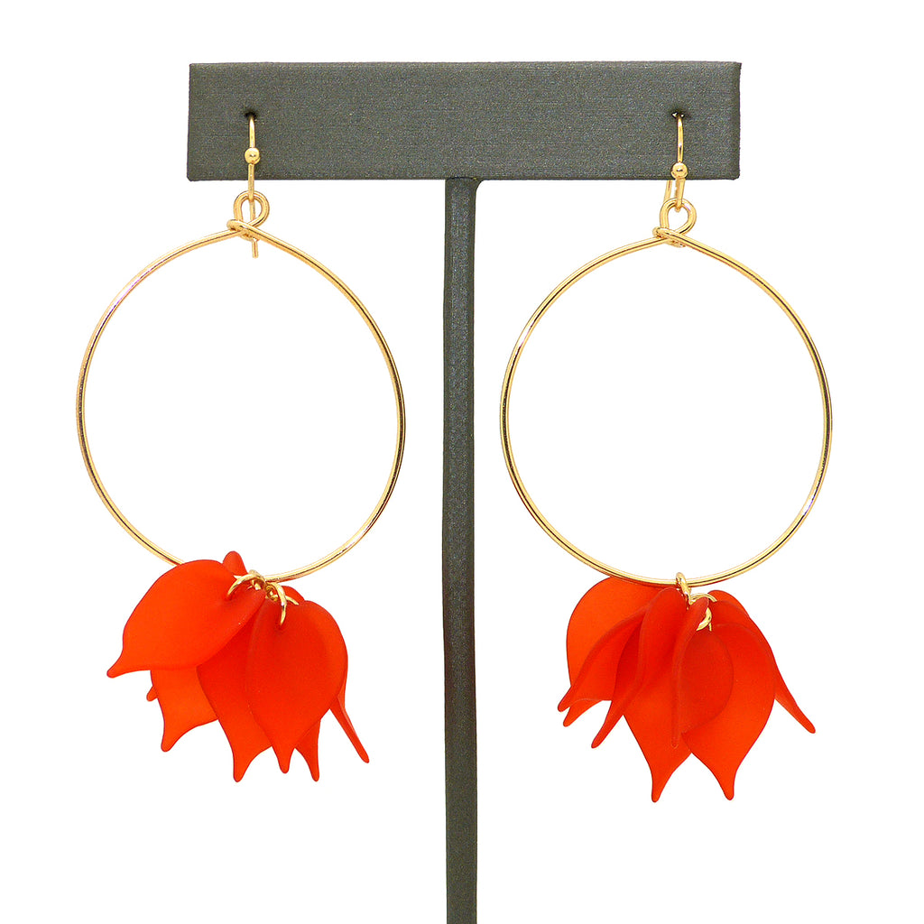 NahMu Red Resin Acrylic Flower Hoop Earrings 672 NWT - ILoveThatGift