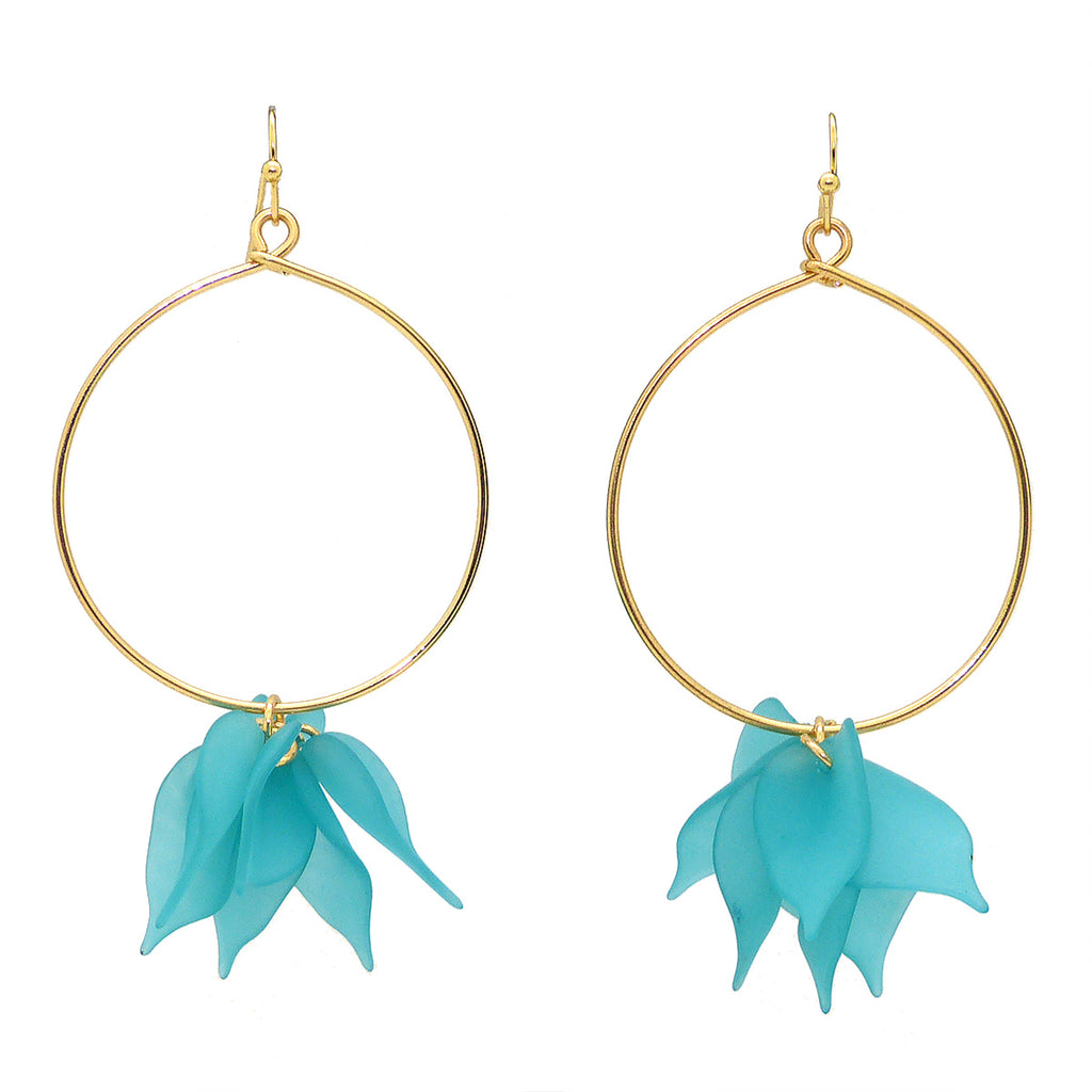 NahMu Turquoise Blue Resin Acrylic Flower Hoop Earrings 672 NWT