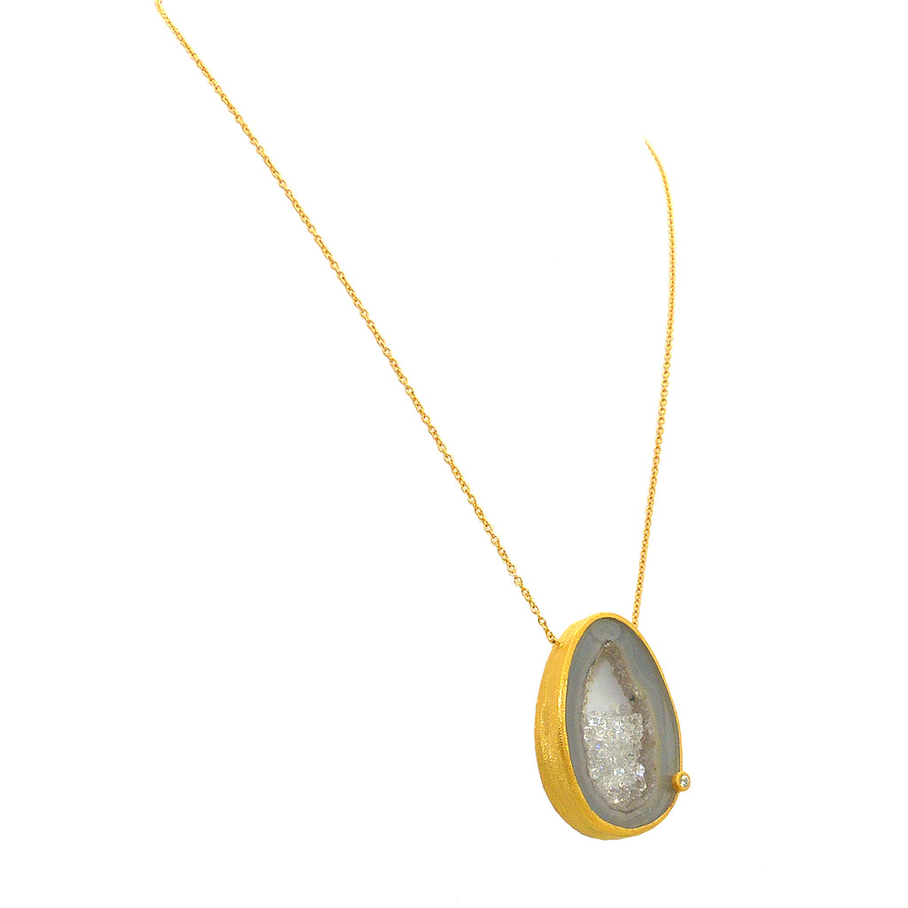 Handmade Floating CZ Open Agate Sparkle Filled Gold Necklace by Felix Z Geode - ILoveThatGift