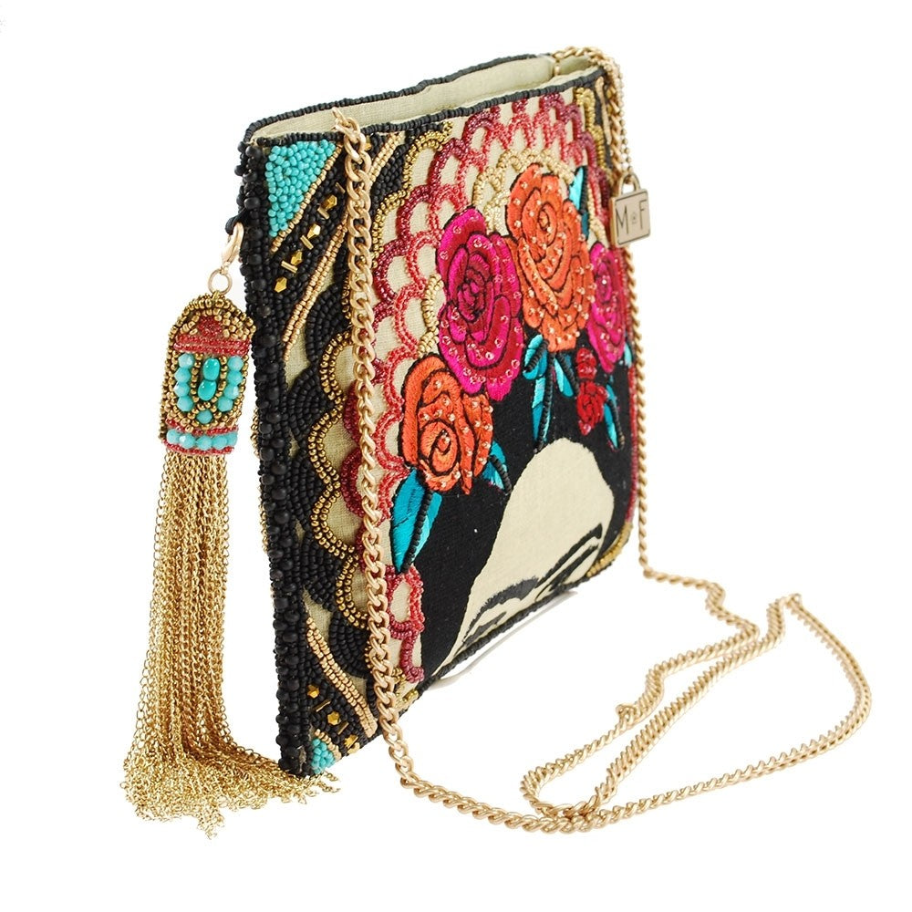 Mary Frances Frida Beaded Embroidered Crossbody Clutch Handbag