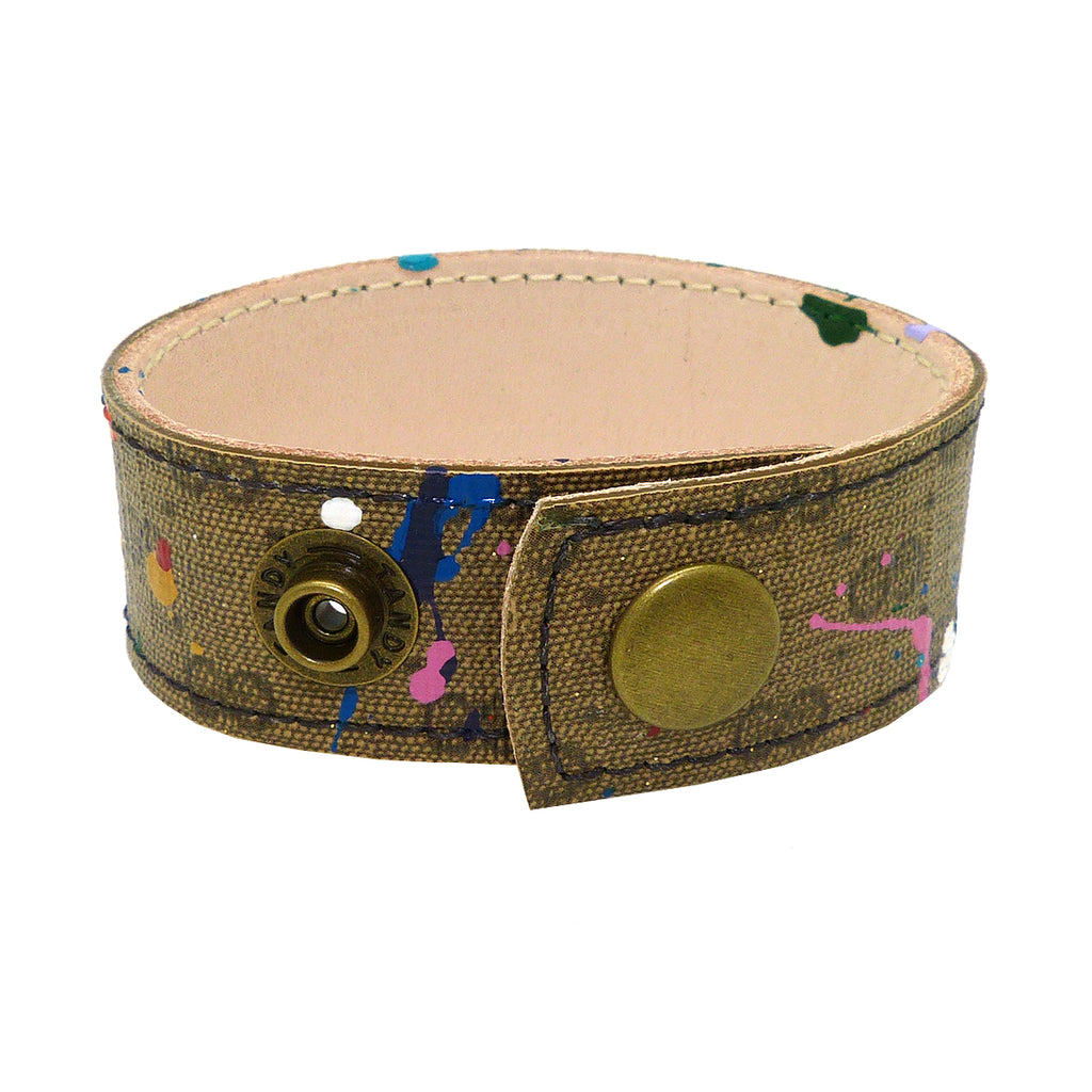 "Repurposed Handpainted Splatter Gucci Leather 1"" Cuff Bracelet by Suzy T Designs - ILoveThatGift"