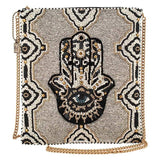 Mary Frances Hamsa Beaded Crossbody Zip Top Handbag 377 Luck Happiness - ILoveThatGift