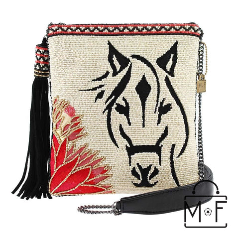 Mary Frances Hoofing It Beaded Horse Cross body Handbag Equine