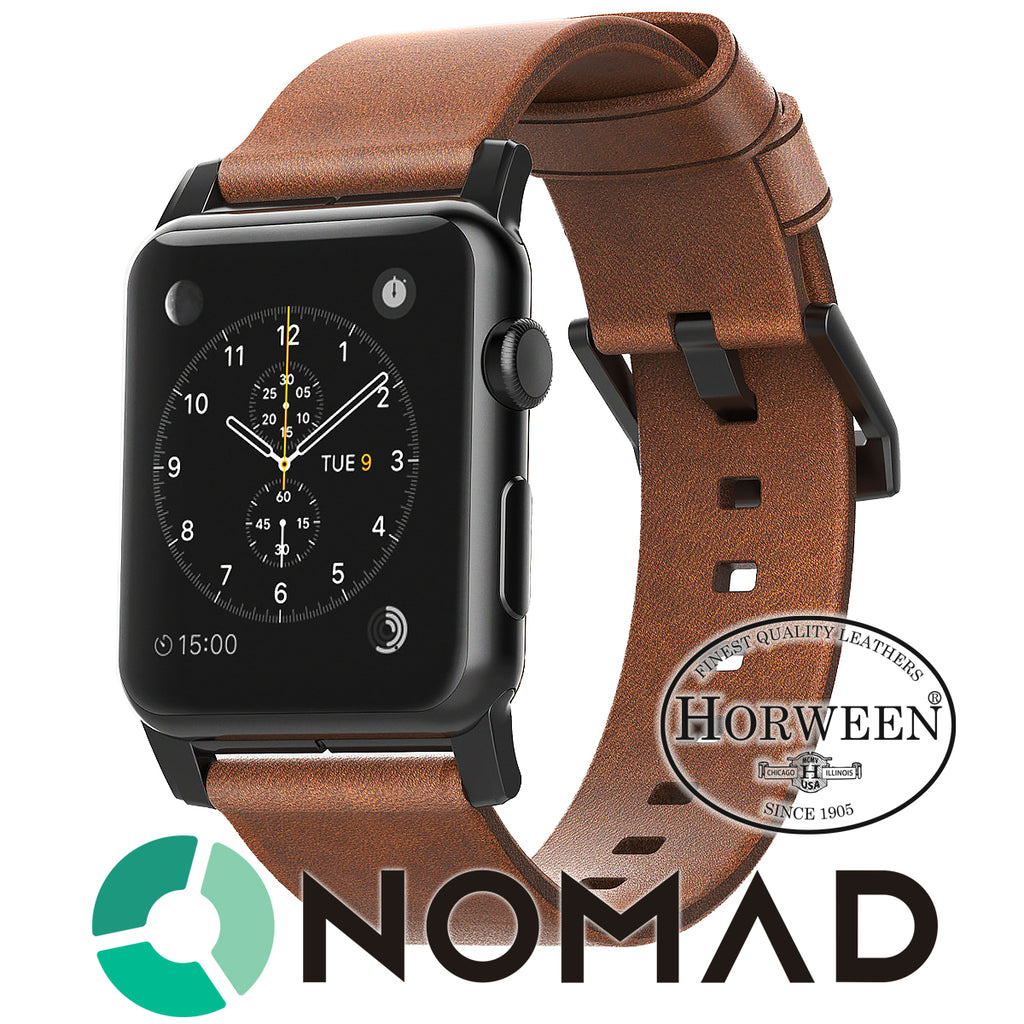 Nomad Horween Leather Apple Watch Strap  42mm Custom Stainless Steel Brown Black - ILoveThatGift