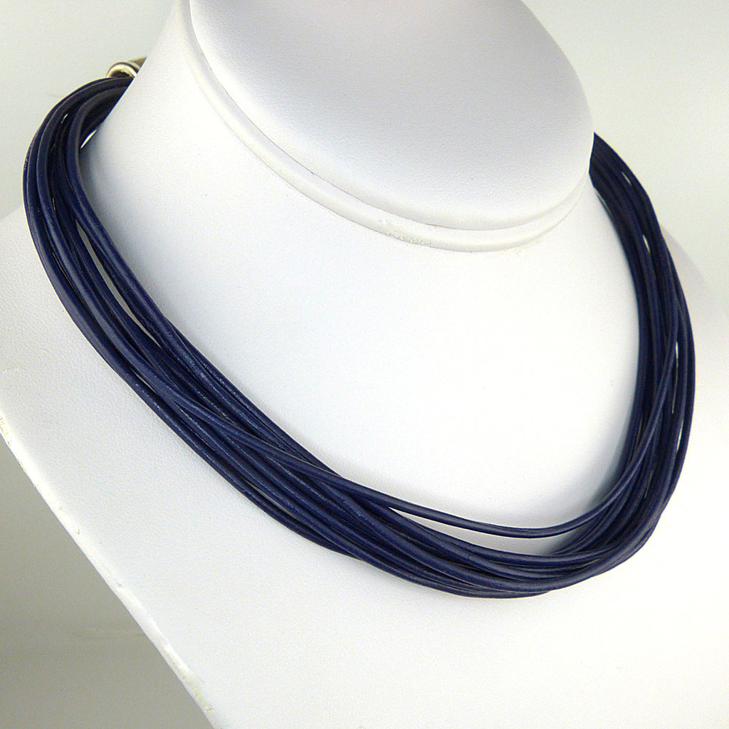 Simon Sebbag Leather Necklace INDIGO BLUE Add Sterling Silver Slide - ILoveThatGift