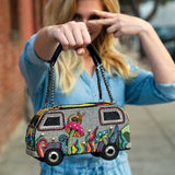 Mary Frances It's A Trip Embellished Bus Top-Handle Bag VW Bus Hippie Van 18-432