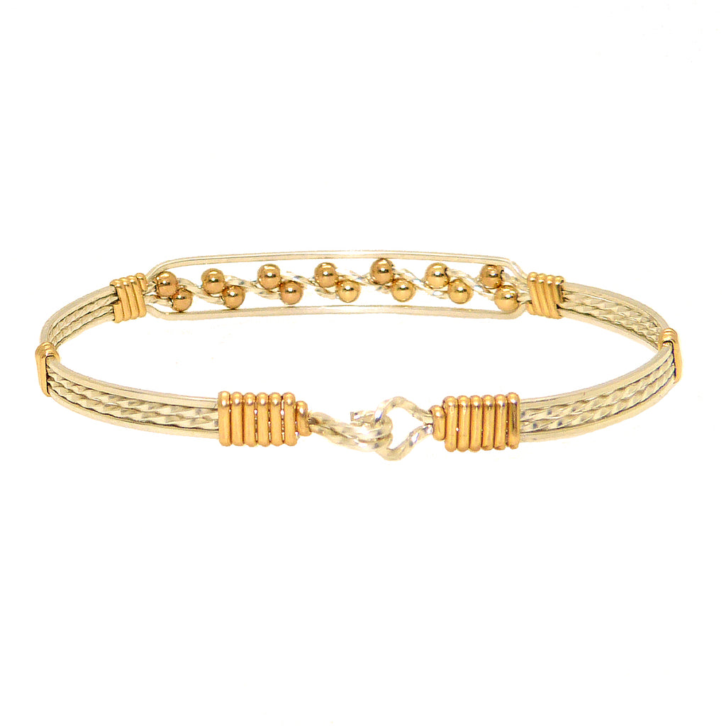 Ronaldo Journey 334 Bracelet Silver w 14K Gold Artist Wire Wraps & Gold Filled Beads - ILoveThatGift