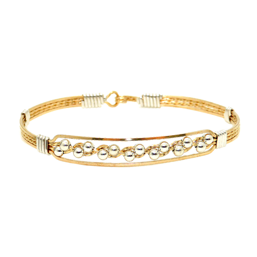 Ronaldo Journey 334 Bracelet 14K Gold Artist Wire with Silver wraps and Beads - ILoveThatGift