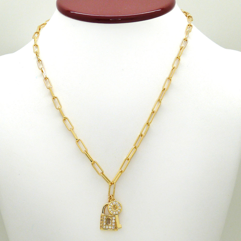Amore 18K Gold Link Necklace with Rhinestone Key and Lock by Sahira - ILoveThatGift