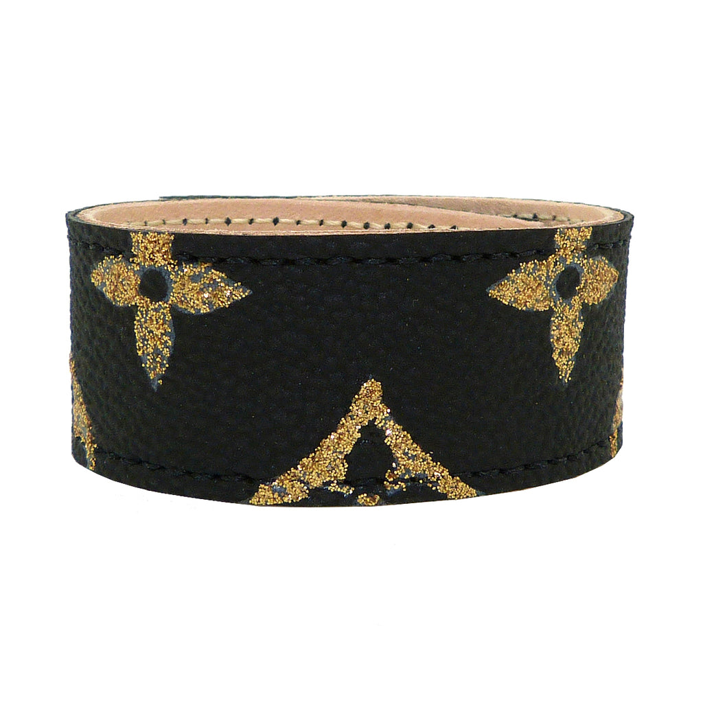 Repurposed Handpainted Black Gold Louis Vuitton Monogram Leather Cuff Bracelet Suzy T Designs - ILoveThatGift