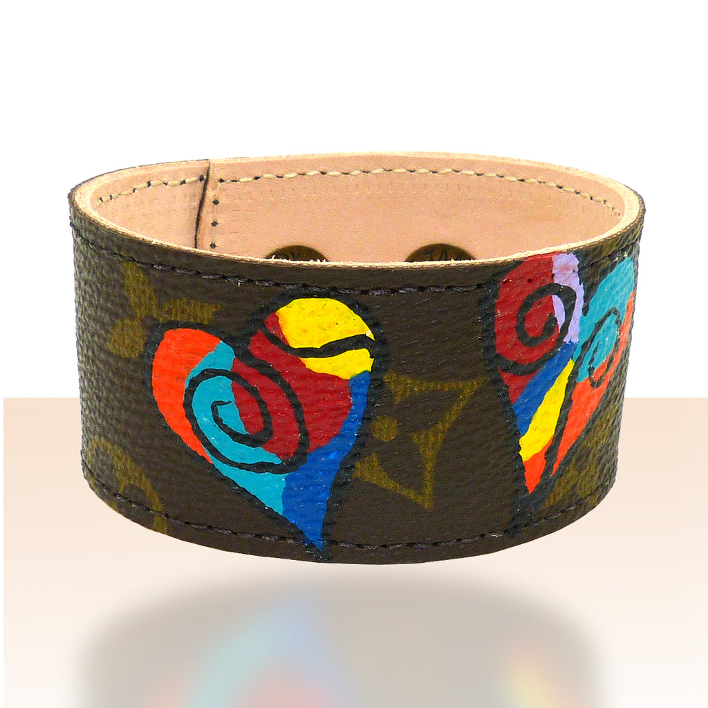 Repurposed Handpainted Heart Louis Vuitton Monogram Leather Cuff Bracelet Suzy T Designs - ILoveThatGift