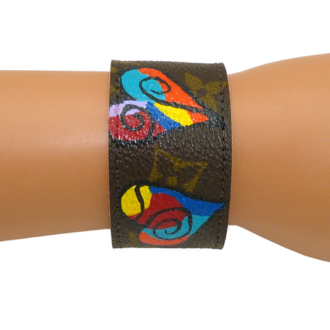 Repurposed Handpainted Heart Louis Vuitton Monogram Leather Cuff Bracelet Suzy T Designs