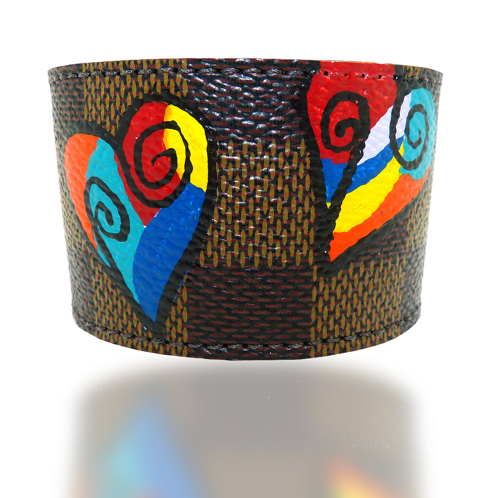 Repurposed Handpainted Heart Louis Vuitton Leather Cuff Bracelet by Suzy T Designs - ILoveThatGift