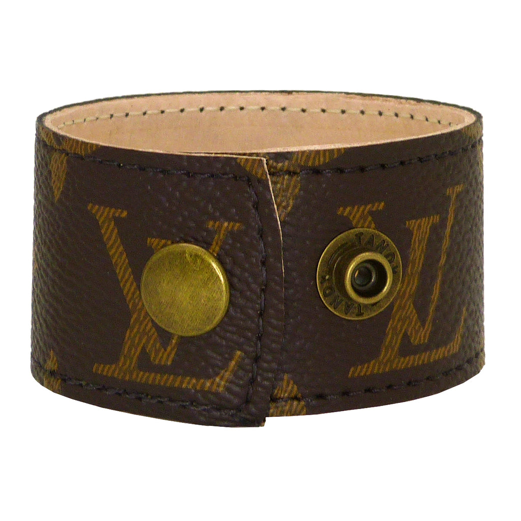 Repurposed Louis Vuitton Monogram LV Leather Cuff Bracelet Suzy T Designs - ILoveThatGift