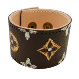 Repurposed Handpainted Monogram LV Leather Cuff Bracelet Suzy T Designs - ILoveThatGift