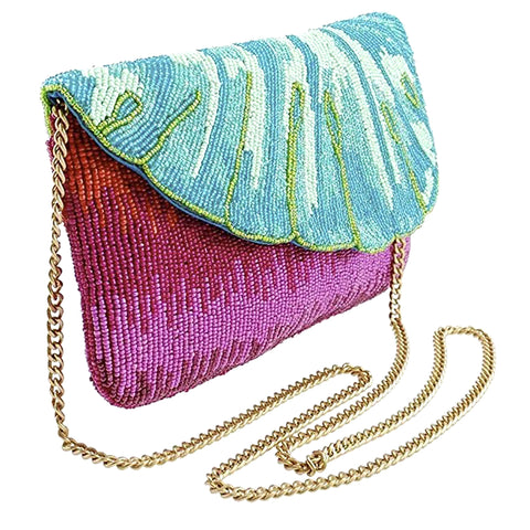 Mary Frances Leaf It Pink Beaded Crossbody Clutch Handbag Phone