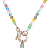 Gigi & Sugar Lynn Rainbow Matte Beads Large Faceted AB Crystal Rose Gold Necklace - ILoveThatGift