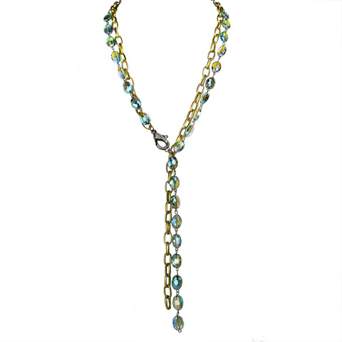 Gigi & Sugar Lynn Blue Rainbow AB Faceted Crystal Antique Gold Necklace Chain - ILoveThatGift