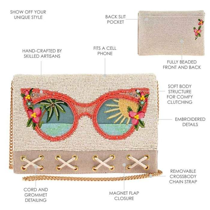 Mary Frances Summer Focus Beaded Sunglasses Crossbody Clutch Handbag - ILoveThatGift