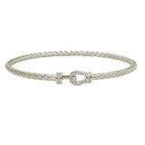 Charles Garnier Bermuda Sterling Silver 3MM Woven Hook & Eye CZ Bangle - ILoveThatGift