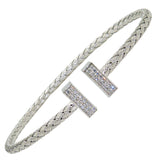 Charles Garnier Bella Sterling Silver 3MM CZ Cap T Cuff Bangle - ILoveThatGift
