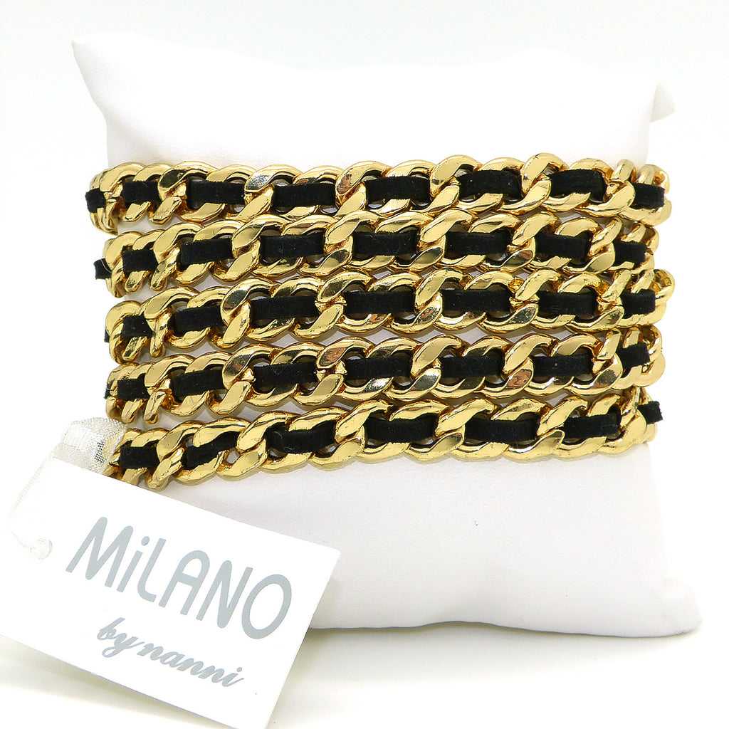 Milano by Nanni 5 Gold Chain Link Black Leather Wrap Magnetic Bracelet