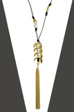 Nanni Black Leather 18 K Gold Plate Pearl and Tassel Necklace