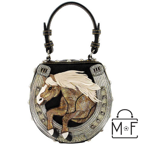 Mary Frances Mane Stay Embellished Horse Top Handle Bag Riding Equestrian 17-356