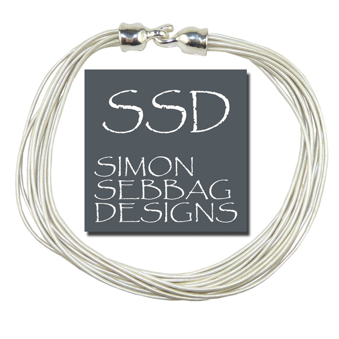 Simon Sebbag Leather Necklace Pearl White Add Sterling Silver Slide - ILoveThatGift