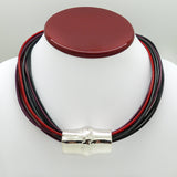 "Simon Sebbag Leather Necklace 4 colors Midnight Red Black Metal Wine 17"" Add Sterling Silver Slide - ILoveThatGift"
