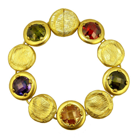 Gold Toned Africa Semi Precious Stones Bracelet Magnetic Closure Marco Bicego Inspired - ILoveThatGift