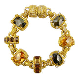 Gold Toned Semi Precious Stones Link Bracelet Magnetic Closure Designer Inspired - ILoveThatGift
