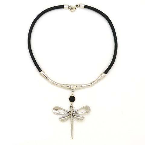 Lilly's Allure Black Leather Silver Dragonfly Necklace N18 Wear with Uno de 50