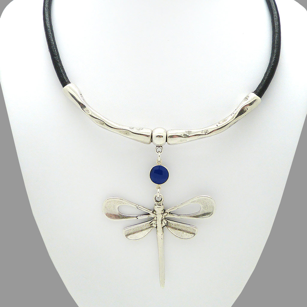 Lilly's Allure Black Leather Silver Dragonfly Necklace Blue Stone N18 Wear with Uno de 50 - ILoveThatGift