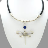 Lilly's Allure Black Leather Silver Dragonfly Necklace Blue Stone N18 Wear with Uno de 50