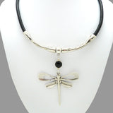 Lilly's Allure Black Leather Silver Dragonfly Necklace N18 Wear with Uno de 50 - ILoveThatGift